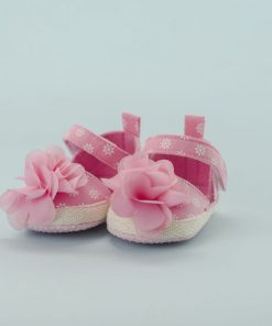 Zapato de Niña Rosado con Flores (Talla: 13-14-15)