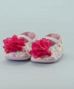 Zapato de Niña Blanco con Flores (Talla: 13-14-15)