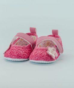 Zapato de Niña Fucsia con Flores (Talla: 13-14-15)